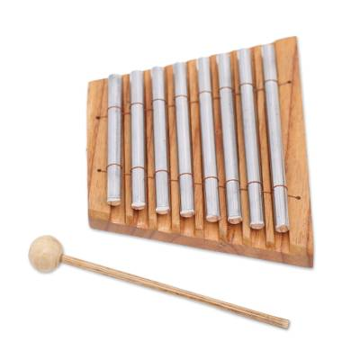 Wood and stainless steel xylophone, 'Chiming Symphony' - Teakwood and Stainless Steel Xylophone from Bali