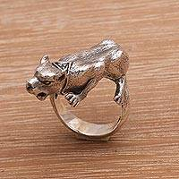 Sterling silver cocktail ring, 'Silver Panther' - Sterling Silver Panther Cocktail Ring from Bali