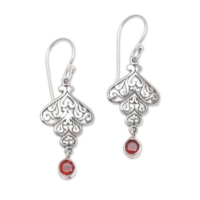 Sterling Silver Tumbling Heart Garnet Dangle Earrings