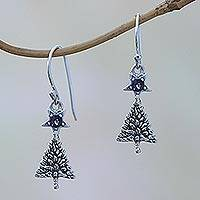 Amethyst dangle earrings, 'Blessing Tree' - Sterling Silver Star Amethyst Blessing Tree Dangle Earrings