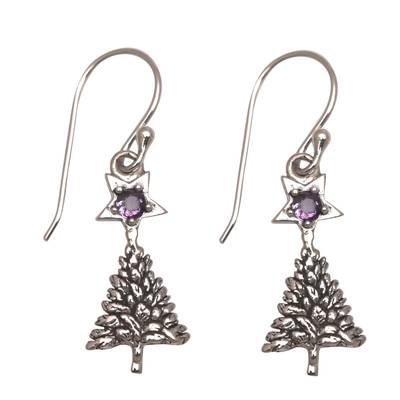 Sterling Silver Star Amethyst Blessing Tree Dangle Earrings
