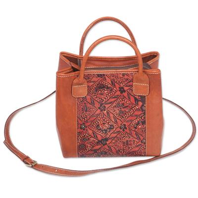 Floral Batik Leather Handle Handbag with Removable Strap