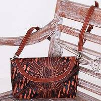 Batik leather sling, 'Parang Bloom' - Adjustable Dark Brown Leather Floral Parang Sling