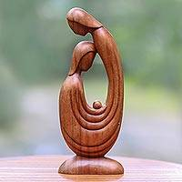Wood sculpture, 'First Love' - Bali Hand-Carved Wood Parents and Child Family Sculpture