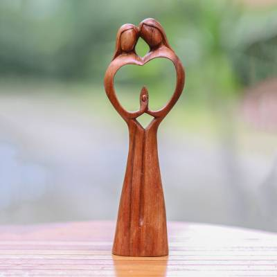 Wood sculpture, 'Piece of Me' - Hand-Carved Couple Family Love Suar Wood Heart Sculpture