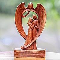 Wood sculpture, 'Angelic Presence' - Hand-Carved Guardian Angel and Couple Suar Wood Sculpture