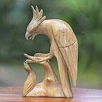 Wood sculpture, 'Majestic Cockatoo'