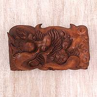 Wood relief panel, 'Kala Ratih' - Hand-Carved Sese Wood Kala Rau and Dewi Ratih Relief Panel