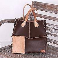 Leather tote handbag, 'Urban Safari' - Hand-Made Brown and Camel Leather Tote Patchwork Handbag