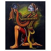 'Bancak Dance' - Signed Expressionist Painting of a Bancak Dancer from Java
