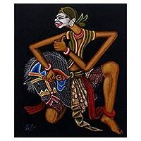 'Jathilan Dance' - Signed Painting of a Jathilan Dancer from Indonesia