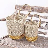 Natural fiber nesting baskets, 'Catching Sunshine' (pair) - Natural Fiber Large and Small Baskets with Handle (Pair)