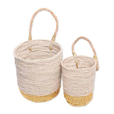Natural Fiber Large and Small Baskets with Handle (Pair)