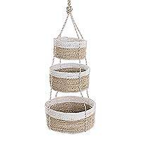 Natural fiber hanging baskets, 'Nesting' - Handwoven Natural Fiber White Rim Three Tier Hanging Baskets