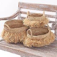 Natural fiber baskets, 'Tropical Splendor' (set of 3) - Handcrafted Natural Fiber Woven Baskets (Set of 3)