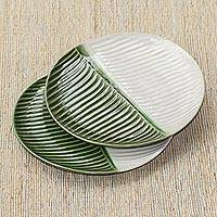 Ceramic salad plates, 'Dual Leaves' (pair) - White and Green Ceramic Salad Plates from Indonesia (Pair)