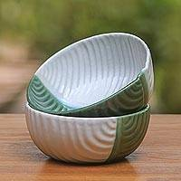Ceramic bowls, 'Dual Leaves' (pair) - White and Green Ceramic Leaf Bowls from Indonesia (Pair)