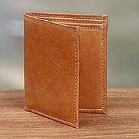 Leather wallet, 'Esquire in Brown' - Brown Handcrafted Bi-Fold Leather Wallet from Bali