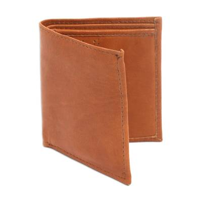 Brown Handcrafted Bi-Fold Leather Wallet from Bali