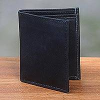 Leather wallet, 'Esquire in Black' - Black Handcrafted Bi-Fold Leather Wallet from Bali