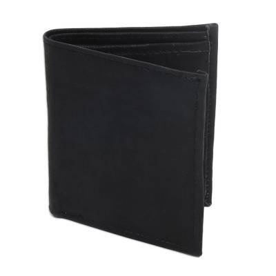 Black Handcrafted Bi-Fold Leather Wallet from Bali