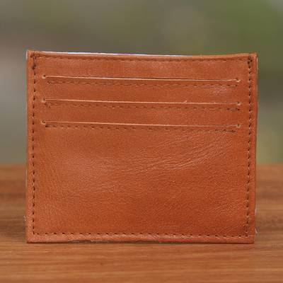 Leather card holder, 'Business Savvy in Brown' - Brown Handcrafted Seven-Slot Leather Card Holder from Bali