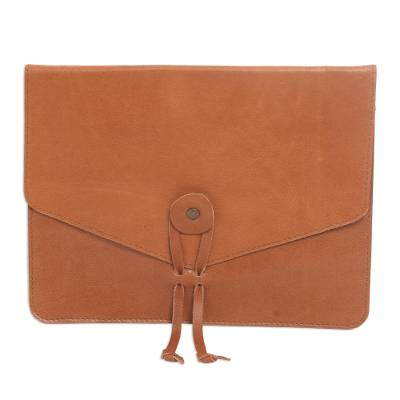 Brown Handcrafted Leather E-Reader Case from Bali