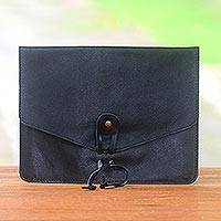 Leather e-reader case, 'Distinguished Reader in Black' - Black Handcrafted Leather E-Reader Case from Bali
