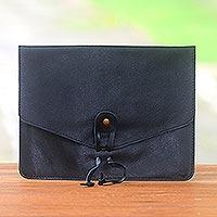 Novica Cotton trim leather e-reader case, Classic Story in Brown