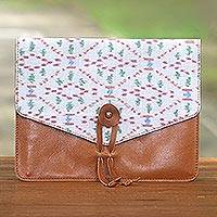 Cotton trim leather e-reader case, 'Plot Twist in Brown' - Handcrafted Brown Leather and White Print Flap E-Reader Case