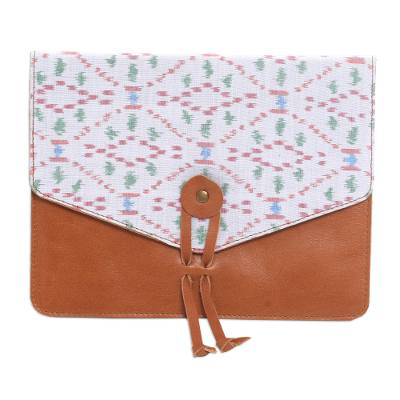 Handcrafted Brown Leather and White Print Flap E-Reader Case