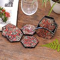 Wood batik coasters, 'Sekarjagad' (set of 6) - Red and Black Floral Batik Set of Six Wadang Wood Coasters
