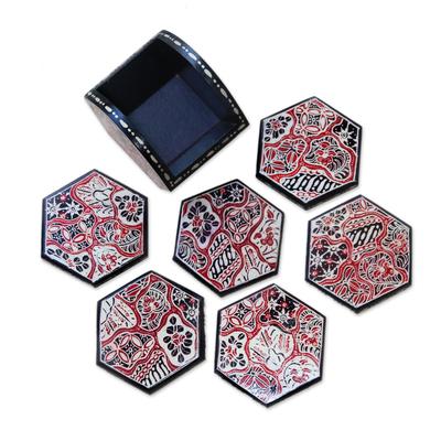 Red and Black Floral Batik Set of Six Wadang Wood Coasters