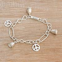 Sterling silver charm bracelet, 'Peaceful Infinity'