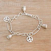 Sterling silver charm bracelet, 'Peaceful Infinity' - Sterling Silver Peace Symbol Charm Bracelet from Bali