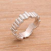 Sterling silver band ring, 'Hallucination Bars' - Javanese Sterling Silver High Polish Wavy Bar Band Ring