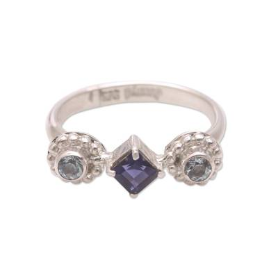 Sterling Silver Blue Topaz and Iolite Faceted Cocktail Ring