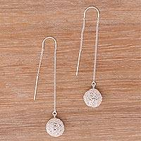 Sterling silver threader earrings, 'Dangling Nests' - Nest-Shaped Sterling Silver Threader Earrings from Bali