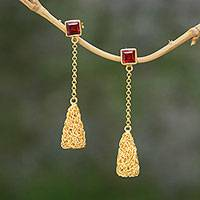 Gold plated garnet dangle earrings, 'Dancing Embers' - Garnet and 18k Gold Plated Sterling Silver Dangle Earrings