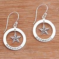 Sterling silver dangle earrings, 'Starfish Happiness' - Sterling Silver Starfish Dangle Earrings Crafted in Bali