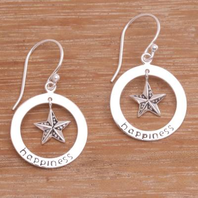 Sterling silver dangle earrings, Starfish Happiness