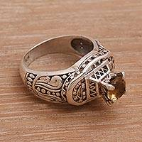 Citrine cocktail ring, 'Javanese Temple' - Handcrafted Citrine and Sterling Silver Cocktail Ring