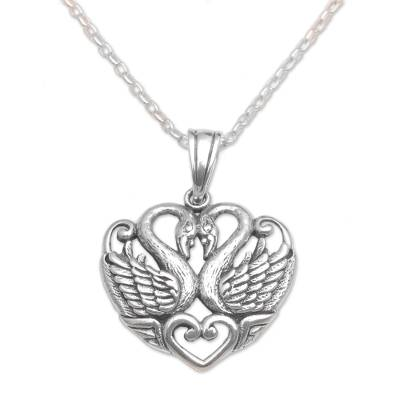 Sterling silver pendant necklace, 'Swan Love' - Sterling Silver Swan Pendant Necklace from Bali