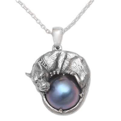 Cultured pearl pendant necklace, 'Panther Power in Blue' - Cultured Pearl Panther Pendant Necklace in Blue from Bali