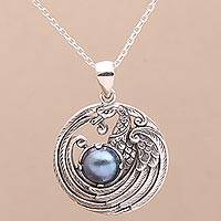 Cultured pearl pendant necklace, 'Peacock Throne in Blue'
