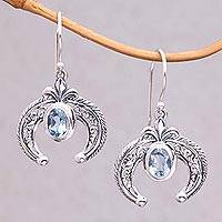 Blue topaz dangle earrings, 'Elegant Talons' - Indonesian Blue Topaz and Sterling Silver Dangle Earrings