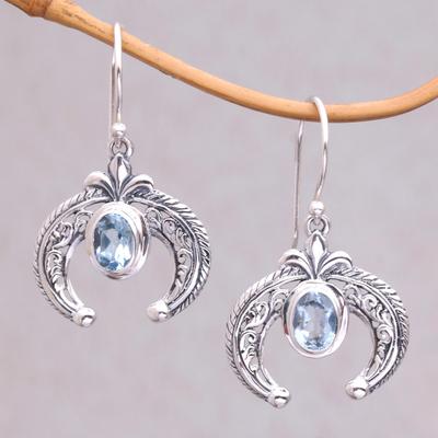 Novica Blue topaz dangle earrings, Elegant Talons