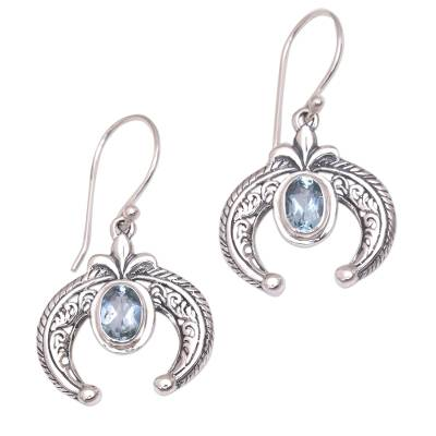 Indonesian Blue Topaz and Sterling Silver Dangle Earrings