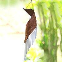 Coconut fiber wind chime, 'Bali Serenade' - Handmade Minimalistic Coconut Tree Bark Wind Chime from Bali