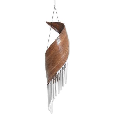 Coconut fiber wind chime, 'Bali Serenade' - Handmade Minimalistic Coconut Tree Bark Wind Chime from Bali